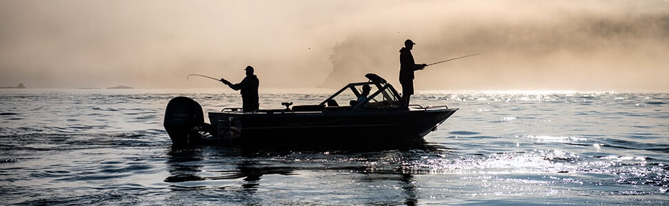 Morning fishing from a Northwest Boat with a fog bank