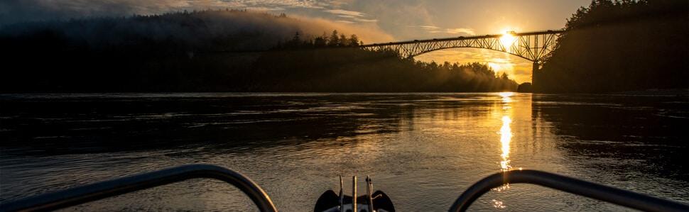 Sunrise at inland bridge from Northwest Boat
